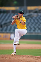 AZL Athletics Gold relief pitcher Charles Hall (66) during an Arizona League game against the AZL Giants Black on July 12, 2019 at Hohokam Stadium in Mesa, Arizona. The AZL Giants Black defeated the AZL Athletics Gold 9-7. (Zachary Lucy/Four Seam Images)