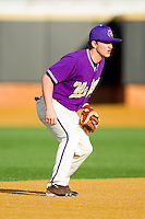 Shortstop Aaron Attaway #3 of the Western Carolina Catamounts on defense against the Wake Forest Demon Deacons at Gene Hooks Field on February 22, 2011 in Winston-Salem, North Carolina.  Photo by Brian Westerholt / Four Seam Images