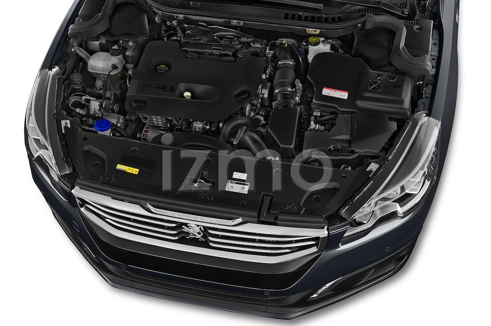 Car Stock 2015 Peugeot 508 GT 4 Door Sedan 2WD Engine high angle detail view