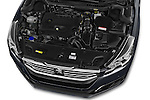 Car Stock 2015 Peugeot 508 GT 4 Door Sedan 2WD Engine high angle detail view
