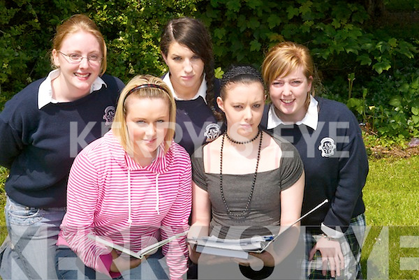 LOOKING OVER: Before heading into Part 2 of their English exam students from Presentation Secondary School, Tralee, look over some notes. L-r: Aisling Phelan, Lucy Dennehy, Fenagh OMahony, Zara Barry and Orla OCarroll (all Tralee)..