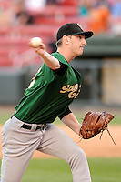 Pitcher Jimmy Duff (25) of the Savannah Sand Gnats, delivers a pitch in a game against the Greenville Drive on Sunday, July 5, 2015, at Fluor Field at the West End in Greenville, South Carolina. Savannah won, 8-6. (Tom Priddy/Four Seam Images)