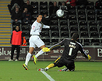 ATTENTION SPORTS PICTURE DESK<br /> Pictured L-R: Scott Sinclair of Swansea shoots the ball wide, David James, goalkeeper for Bristol on the ground<br /> Re: npower Championship, Swansea City FC v Bristol City Football Club at the Liberty Stadium, south Wales. Wednesday 10 November 2010