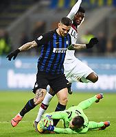 Mauro Icardi of Internazionale, Ibrahima Mbaye, Lukasz Skorupski of Bologna  <br /> Milano 03-02-2019 Stadio San Siro Football Serie A 2018/2019 Inter - Bologna    <br /> Foto Image Sport / Insidefoto
