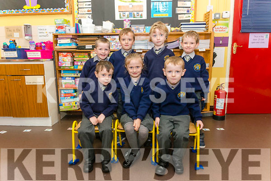 First day of school for Junior Infants at the Annablatha NS, Killarney last Monday. Pictured are front l-r Cian Kelleher, Eimear Lucey and Jack Lucey, back l-r Ronan O'Leary, Josh O'Sullivan, Kyle Morrissey and Cillian O'Dwyer.