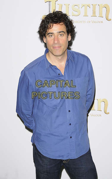 Stephen Mangan<br /> The &quot;Justin &amp; the Knights of Valour 3D&quot; UK film premiere, May Fair Hotel, London, England.<br /> September 8th, 2013<br /> half length blue shirt <br /> CAP/CAN<br /> &copy;Can Nguyen/Capital Pictures