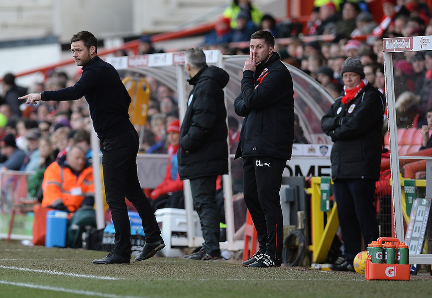 Fleetwood Town manager Graham Alexander  in action during todays match  <br /> <br /> Photographer Ashley Crowden/CameraSport<br /> <br /> Football - The Football League Sky Bet League One - Bristol City v Fleetwood Town - Sunday 1st February 2015 - Ashton Gate - Bristol<br /> <br /> &copy; CameraSport - 43 Linden Ave. Countesthorpe. Leicester. England. LE8 5PG - Tel: +44 (0) 116 277 4147 - admin@camerasport.com - www.camerasport.com