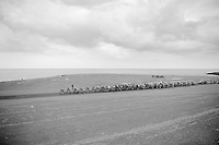peloton over the Brouwersdam, next to the sea<br /> <br /> 3rd World Ports Classic 2014<br /> stage 1: Rotterdam - Antwerpen 195km