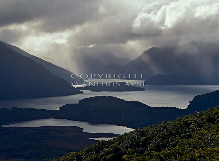 Lake Manapouri.  Fiordland National Park. New Zealand.