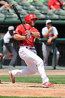 Justin Ringo #35 of the Peoria Chiefs swings against the Great Lakes Loons at Dozer Park on July 28, 2014 in Peoria, Illinois. The Loons won 4-0.   (Dennis Hubbard/Four Seam Images)