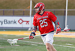UAlbany Men's Lacrosse defeats Stony Brook on March 31 at Casey Stadium.  Tyler Anderson (#25)