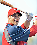18 May 2012: Washington Nationals outfielder Bryce Harper awaits his turn in the batting cage prior to a game against the Baltimore Orioles at Nationals Park in Washington, DC. The Orioles defeated the Nationals 2-1 in the first game of their 3-game series. Mandatory Credit: Ed Wolfstein Photo