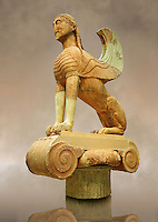 Large Sphinx of Naxos sitting on an Ionic column circa 560 B.C. Delphi Archaeological Museum.