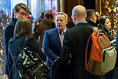 Sean Spicer is seen conversing with representatives of the White House Correspondents' Association in the lobby of Trump Tower in New York, NY, USA on January 5, 2017. <br /> Credit: Albin Lohr-Jones / Pool via CNP