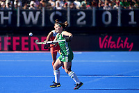 Ireland's Shirley McCay with the ball<br /> <br /> Photographer Hannah Fountain/CameraSport<br /> <br /> Vitality Hockey Women's World Cup - Netherlands v Ireland - Sunday 5th August 2018 - Lee Valley Hockey and Tennis Centre - Stratford<br /> <br /> World Copyright &copy; 2018 CameraSport. All rights reserved. 43 Linden Ave. Countesthorpe. Leicester. England. LE8 5PG - Tel: +44 (0) 116 277 4147 - admin@camerasport.com - www.camerasport.com