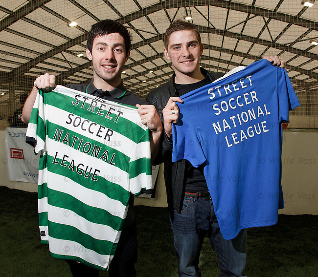 Celtic's Richard Towell and Rangers midfielder Kyle Hutton promoting Street Soccer Scotland