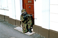 British Army soldier on armed foot patrol on the streets of Northern Ireland. This image may only be used to portray the subject in a positive manner..©shoutpictures.com..john@shoutpictures.com