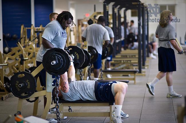 Football weight training...Photo by Matt Cashore/University of Notre Dame