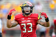 College Park, MD - SEPT 22, 2018: Maryland Terrapins linebacker Tre Watson (33) gets the crowd pumped during game between Maryland and Minnesota at Capital One Field at Maryland Stadium in College Park, MD. The Terrapins defeated the Golden Bears 42-13 to move to 3-1 on the season. (Photo by Phil Peters/Media Images International)