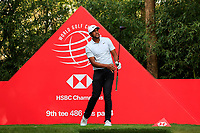 Tony Finau (USA) on the 9th tee during round 1 at the WGC HSBC Champions, Sheshan Golf Club, Shanghai, China. 31/10/2019.<br /> Picture Fran Caffrey / Golffile.ie<br /> <br /> All photo usage must carry mandatory copyright credit (© Golffile | Fran Caffrey)