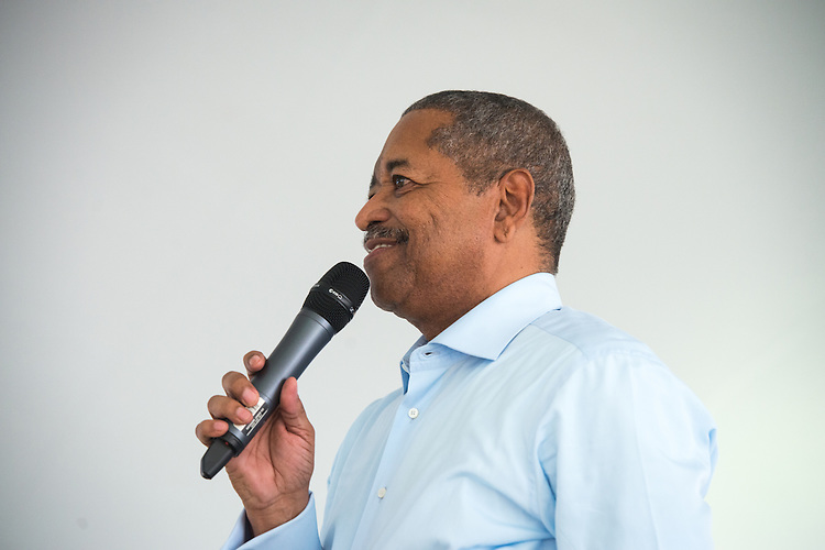 Ohio University President Roderick McDavis speaks during the Black Alumni Reunion during its welcome reception at Tailgreat Park on Thursday, September 15, 2016.