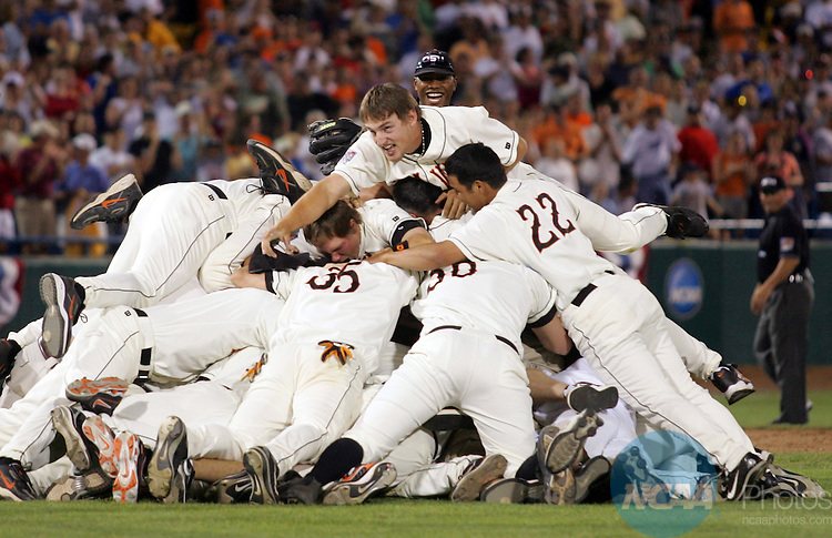 26 JUNE 2006:  Oregon State University celebrates their victory against the University of North Carolina during the Division I Men's Baseball Championship held at Rosenblatt Stadium in Omaha, NE.  Oregon State defeated North Carolina 3-2 to win the national title.  Jamie Schwaberow/NCAA Photos
