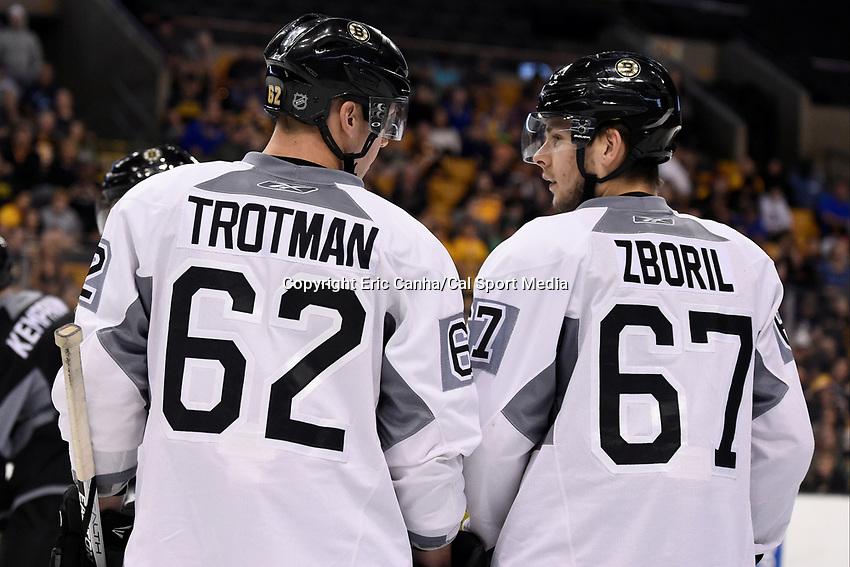 September 20, 2015 - Boston, Massachusetts, U.S. - Boston Bruins defenseman Zach Trotman (62) and defenseman Jakub Zboril (67) chat  during the Boston Bruins training camp held at TD Garden in Boston Massachusetts. Eric Canha/CSM