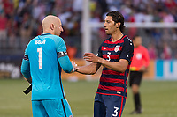East Hartford, CT - Saturday July 01, 2017: Brad Guzan, Omar Gonzalez during an international friendly match between the men's national teams of the United States (USA) and Ghana (GHA) at Pratt & Whitney Stadium at Rentschler Field.