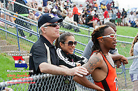 Ritenour senior Ra'shad Harris and friends watch the clock waiting to see his time after his third place finish in the 800 meters at the Missouri Class 4 Sectional 2 race at Parkway North High School, St. Louis, MO. Saturday, May 18.
