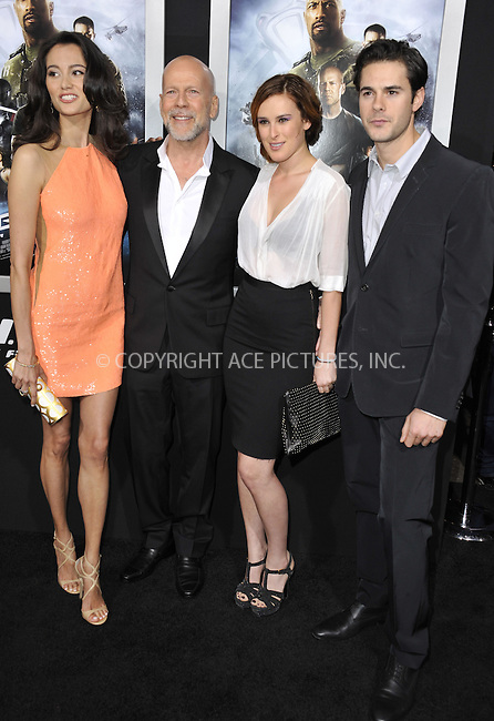 WWW.ACEPIXS.COM....March 28 2013, LA....Actor Bruce Willis (C), his wife Emma Heming Willis, Rumer Willis and Jayson Blair arriving at the 'G.I. Joe: Retaliation' Los Angeles premiere at the TCL Chinese Theatre on March 28, 2013 in Hollywood, California.......By Line: Peter West/ACE Pictures......ACE Pictures, Inc...tel: 646 769 0430..Email: info@acepixs.com..www.acepixs.com