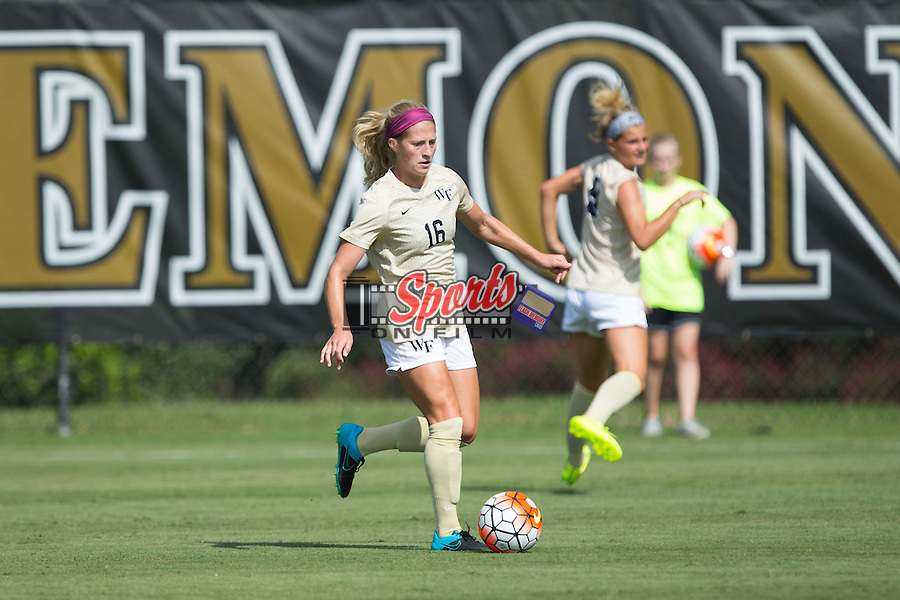 Katie Dry (16) of the Wake Forest Demon Deacons controls the ball during first half action against the Georgia Bulldogs at Spry Soccer Stadium on August 23, 2015 in Winston-Salem, North Carolina.  The Deacons defeated the Bulldogs 4-0.  (Brian Westerholt/Sports On Film)