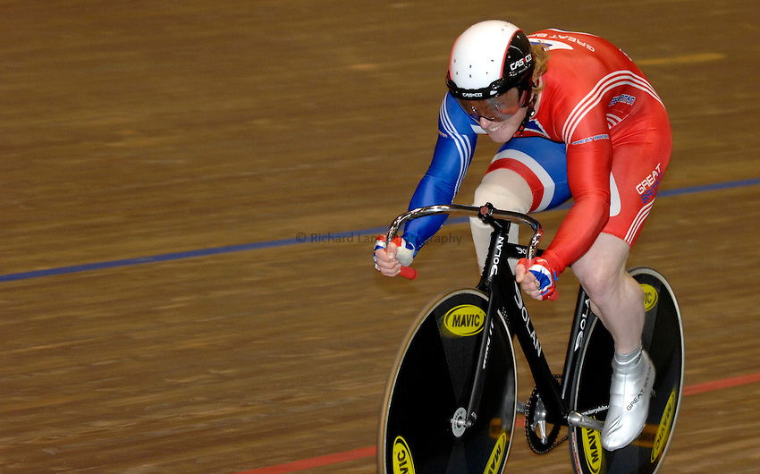 Photo: Richard Lane..VISA Paralympic World Cup 2007. Track Cycling. 11/05/2007..Jody Cundy of Great Britain in the Team Sprint, male.