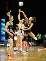 31.08.2016 Silver Ferns Ameliaranne Ekenasio and South Africa's Renske Stolz in action during the Netball Quad Series match between the Silver Ferns and South Africa played at Claudelands Arena in Hamilton. Mandatory Photo Credit ©Michael Bradley.