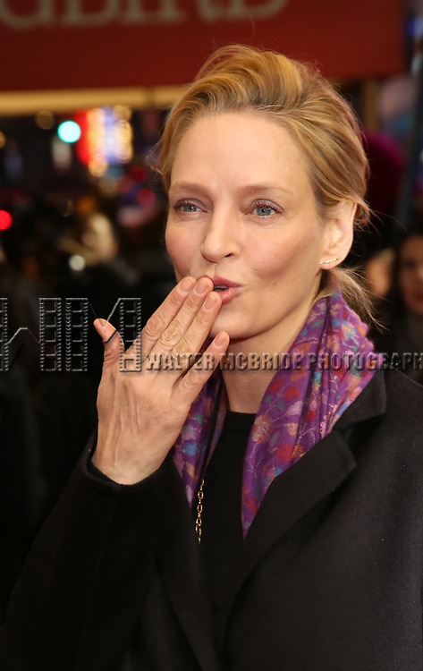 """Uma Thurman attends the Broadway Opening Night Performance of """"To Kill A Mockingbird"""" on December 13, 2018 at The Shubert Theatre in New York City."""