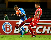 BOGOTA - COLOMBIA - 20 – 05 - 2017: Juan Guillermo Dominguez (Izq.) jugador de Millonarios disputa el balón con Nicolas Carreño (Der.) jugador de Patriotas F.C., durante partido de la fecha 19 entre Millonarios y por la Liga Aguila I-2017, jugado en el estadio Nemesio Camacho El Campin de la ciudad de Bogota. / Juan Guillermo Dominguez (L) player of Millonarios vies for the ball with Nicolas Carreño (R) player of Patriotas F.C., during a match of the date 19th between Millonarios and Patriotas F.C., for the Liga Aguila I-2017 played at the Nemesio Camacho El Campin Stadium in Bogota city, Photo: VizzorImage / Luis Ramirez / Staff.
