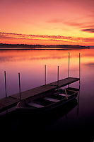 sunrise, rowboat, dock, Vermont, VT, South Hero, [Sunrise, sunset] on Keeler Bay on Lake Champlain.