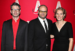 Daniel Aukin, Chris Bauer and Melissa James Gibson  attending the Opening Night After Party for the Atlantic Theater Company's 'What Rhymes with America' at Moran's in New York on December 12, 2012
