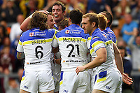 PICTURE BY ALEX WHITEHEAD/SWPIX.COM - Rugby League - Super League Play-Off - Warrington Wolves vs St Helens - The Halliwell Jones Stadium, Warrington, England - 15/09/12 - Warrington players celebrate the try of Brett Hodgson.