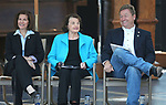 From left, U.S. Sens. Catherine Cortez Masto, D-Nev., Dianne Feinstein, D-Calif., and Dean Heller, R-Nev., listen to a speaker at the 22nd annual Lake Tahoe Summit, at Sand Harbor State Park, near Incline Village, Nev., on Tuesday, Aug. 7, 2018. <br /> Photo by Cathleen Allison/Nevada Momentum