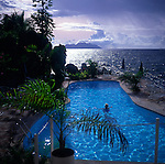 Swimming pool view over ocean, Mahe, Seychelles