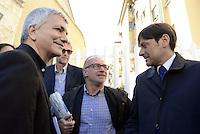 Roma, 24 Ottobre 2015<br /> Nichi Vendola, Franco Giordano e Dario Stefano.<br /> Assembea nazilnale di sinistra Ecologia e Libertà al centro congressi Frentani.