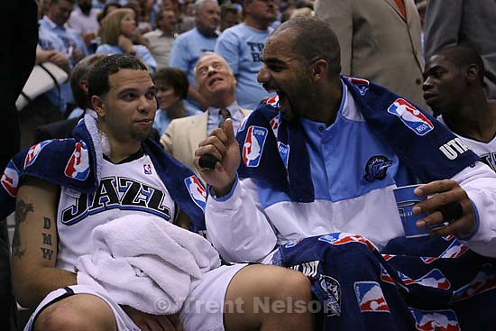 Salt Lake City - Utah Jazz guard Deron Williams (8) and Utah Jazz forward Carlos Boozer (5) on the bench late in the fourth quarter as the Jazz lead 105-82. Utah Jazz vs. San Antonio Spurs, Western Conference Finals game three at EnergySolutions Arena..5.26.2007