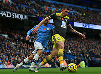 2nd November 2019; Etihad Stadium, Manchester, Lancashire, England; English Premier League Football, Manchester City versus Southampton; Pierre-Emile Hojbjerg of Southampton wins the ball from Bernardo Silva of Manchester City - Strictly Editorial Use Only. No use with unauthorized audio, video, data, fixture lists, club/league logos or 'live' services. Online in-match use limited to 120 images, no video emulation. No use in betting, games or single club/league/player publications