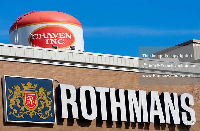 The Rothmans and Craven logos on the RBH (Rothmans, Benson & Hedges) plant in Quebec City. Rothmans, Benson & Hedges (RBH) is Canada's second largest tobacco company, with 16.4% of the Canadian cigarette market.