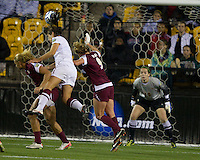 Stanford Cardinals vs Florida State Seminoles in the NCAA 2011 Women's College Cup semifinals.  Stanford won 3-0.  Alina Garciamendez heads the ball for the third goal.