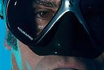Portrait of diver with scubapro mask.Maui Hawaii.