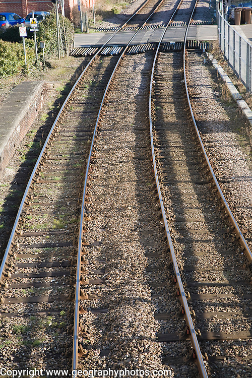 Level crossing and railway lines elevated view