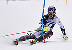 FRANCONIA, NH - MARCH 11:  Thomas Woolson of Dartmouth cuts down the slope during the men's Slalom at the Division I Men's and Women's NCAA Skiing Championships held at Jackson Ski Touring on March 11, 2017 in Jackson, New Hampshire. (Photo by Gil Talbot/NCAA Photos via Getty Images)