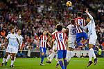 Atletico de Madrid's player Saúl Ñígez, Tiago Cardoso and Diego Godín and Malaga CF Ignacio Camacho during a match of La Liga Santander at Vicente Calderon Stadium in Madrid. October 29, Spain. 2016. (ALTERPHOTOS/BorjaB.Hojas)