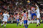 Atletico de Madrid's player Saúl Ñígez, Tiago Cardoso and Diego Godín and Malaga CF Ignacio Camacho during a match of La Liga Santander at Vicente Calderon Stadium in Madrid. October 29, Spain. 2016. (ALTERPHOTOS/BorjaB.Hojas)